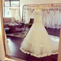 Vestido de Noiva 2015 Elegant Ivory Strapless Chapel Train Mermaid Wedding Dress Bridal Gown With Lace Appliques