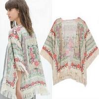 New 2014 fashion spring summer ladies floral pattern coat tassel cape kimono cardigan tops women vitange casual loose outwear