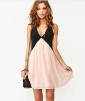 Best Selling! Plus Size 2015 New Sexy Deep V Neck Dress Fashion Women Hollow Out Back Sleeveless Chiffon Summer Dress 235
