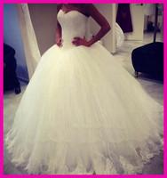 2014 Elegant Custom Made Floor Length Tulle Lace Ball Gown Bridal Wedding Dresses Plus Size W2863