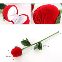 Fashional Romantic Red Rose Engagement Wedding Ring Earrings Jewelry Gift Box Case V3NF