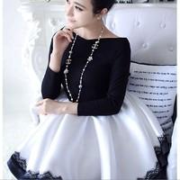 2014 Exclusive Jingjing retro style lace collar exquisite strapless little black dresses 4310