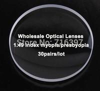 Wholesale 30pairs/lot 1.49 Index Myopia/presbyopia Optical Prescriptioin Lenses White Film Resin lenses Individual Package