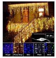 Christmas Garland LED Curtain Icicle String Light 220V 4m 120Leds Drop 0.6m LED Party Garden Stage Decorative Light Extend plug