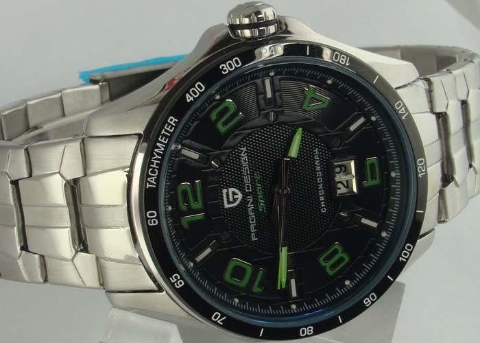 42 mm PaganiDesign cuarzo negro dial fecha marca verde taquímetro reloj de hombre E1141(China (Mainland))