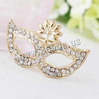 Free shipping!!!Rhinestone Brooch,Men Jewelry, Zinc Alloy, Mask, gold color plated, with rhinestone, nickel