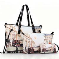 Fashion Three-piece Women Handbag Crossbody Bag 2015 New Printed Shoulder Bags Bolsas Top PU Leather Women Messenger Bags Tote