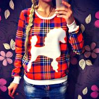 FanShou Free Shipping 2014 Women Hoodies Spring Autumn Casual Character Print Sweatshirt O-neck Plaid Women Hoody Pullovers