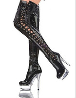 14 / 15cm golden hollow crystal sexy high-heeled boots high boots bottom 15 cm crystal boots