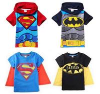 CS057 Free shipping 2014 baby boy shirt superman batman t-shirt kids cartoon 3D t-shirt boys short sleeve hooded tees retail