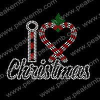 Wholesale 50Pcs/Lot I Love Christmas Rhinestone Bling Iron On Transfers For Xmas Decoration