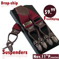 BD6C05B Dark redCasual male fashion suspenders clip western-style trousers elastic spaghetti strap clip check 6 clasp 4colors