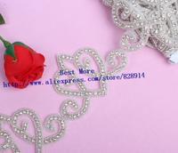 Wholesale Heart Design Clear  Rhinestone Crystal Stone beaded Trim For Wedding Sash Headbands Wedding Bridal Craft Twist Trim
