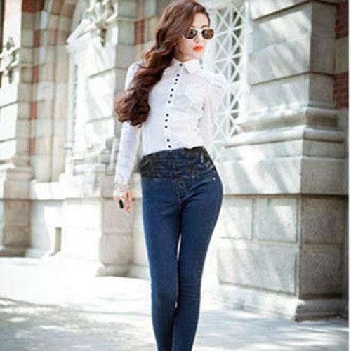 Женщины в элегантный длинный рукав приталенный Fit этикетки с v-образным вырезом боди рубашка верхний