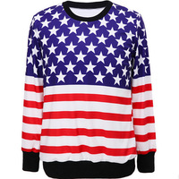 new design flag print sudaderas women  o-neck moletom  assorted colors 3d printing women  sweatshirts casual pullover XH004