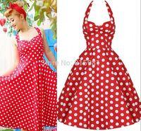 Halter Cute Ladies' Girls Vintage 50's 60's Rockabilly Dress Polka Dot Pin ups Swing Dress XS S M L XL XXL 3XL 4XL 5XL 6XL