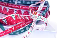 Wholesale Free Shipping 24 yards Mixed 12 Styles Christmas Ribbon Set Printed Ribbon Set Holiday Ornaments Ribbon Decorations