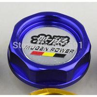 Car Styling Accessorie Aluminium Oil cap Fuel Tank Cap Cover Blue MUGEN POWER