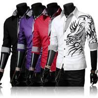 2014 European Style Men Silm Fit Long Sleeve Shirt Male Dragon Printing Fashion Shirt