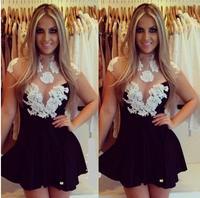 vestidos 2014 women dress new chest white lace transparent mesh and even sexy back dress vestido de festa party dresses