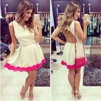 014 In the autumn of sweet sexy nightclub white lace bandage mini bodycon dress frozen dress elsa dress
