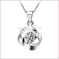 925 Silver Retro Luxury Circle Zircon Wedding Pendant Necklace Female Super Sparkle Fashion Evening Party Jewelry Free shipping