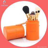 Zoreya Essential 7 Pcs Face Makeup Brushes Set Cup Kit Orange