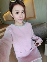 Top sale 2015 Autumn Winter fashion casual all match slim woolen dress women high quality Beading O-neck long sleeve vestidos