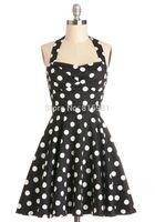 Halter Ladies' Girls Vintage 50's 60's Rockabilly Dress Black White Polka Pinups Swing Dress XS S M L XL XXL 3XL 4XL 5XL 6XL