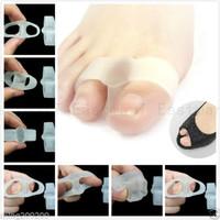 2 Holes Toe Separators Stretchers Straighteners Alignment Bunion Gel Pain Relief