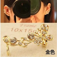 high quality Fashion new hot Retro Crystal Butterfly Flower Ear Cuff Earring Wrap Clip On For Right Ear Earrings for women E-114