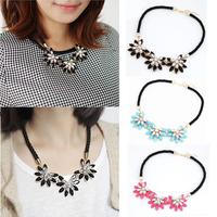 Women Fashion Charm Crystal Flower Necklace Choker Bib Statement Chunky Collar Chain