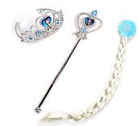 3pcs/set Frozen Elsa Anna Snow Magic Wand Christmas Girl Gift 1set=Magic Wand + Rhinestone Hair Crown +Hair Braid 3 Style