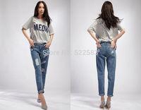 New design hot sale autumn winter loose hole capris 2014 women's jeans big sizes women's jeans