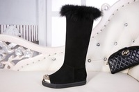 Higher quality goods in the grind arenaceous cowhide plush inside snow shoes high boots free shipping