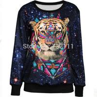 2015 New Arrival Harajuku Style Women 3D Tiger Printed Sweatshirt Ladies Casual Fashion Sports Suit Hoodies Moleton Feminino
