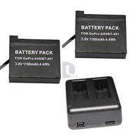 Freeshipping 2pcs 1160mAh AHDBT-401 Gopro hero 4 battery and Dual port Home Charger for Gopro hero4 hd camera 341106501W