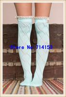 Lady Crochet Bow Lace Trim Knit Leg Warmer Boot Socks Knee High Winter