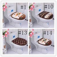Fashion Winter Jacquard thickening bathroom brown coffee series two-piece toilet seat set HD0242