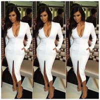 014 Hot autumn V collar long sleeved nobility leg pencil bandage mini bodycon dress frozen dress elsa dress