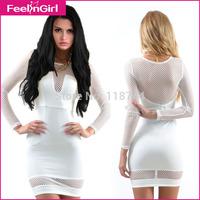 Wholesale 2015 Women Summer  Vestidos White O Neck Long Sleeve Mini Casual Dresses Cheap Bandage Dress Women Clothes China