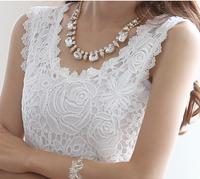 2014 Women Casual Blusa Renda Plus Size Sleeveless Floral Lace Blouses Slim Fit Tank Top Renda Roupas Blusas Femininas S-XXXL