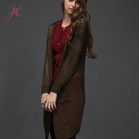 New 2014 Autumn Women Knitwear Cardigans High Quality Gold/Silver Pure Color Fashion Cardigans Desigaul Show Thin Slim Cardigans