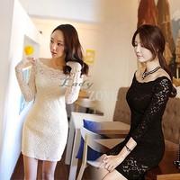 New Lace Mini Dress Off Shoulder Long Sleeve Slim Dress Women's Sexy Party Vestidos Fashion Clubwear Casual Size M-L b9 CB032825