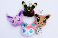 Free shipping 40pcs/lot cute 4styles Pokemon Sylveon Eevee Umbreon Espeon Plush Toys soft Pendants Keychains