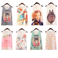 Women New T-shirts 2015 Summer Fashional Sweet Cartoon Pattern Print Round Collar Sleeveless Loose Chiffon Shirts 788