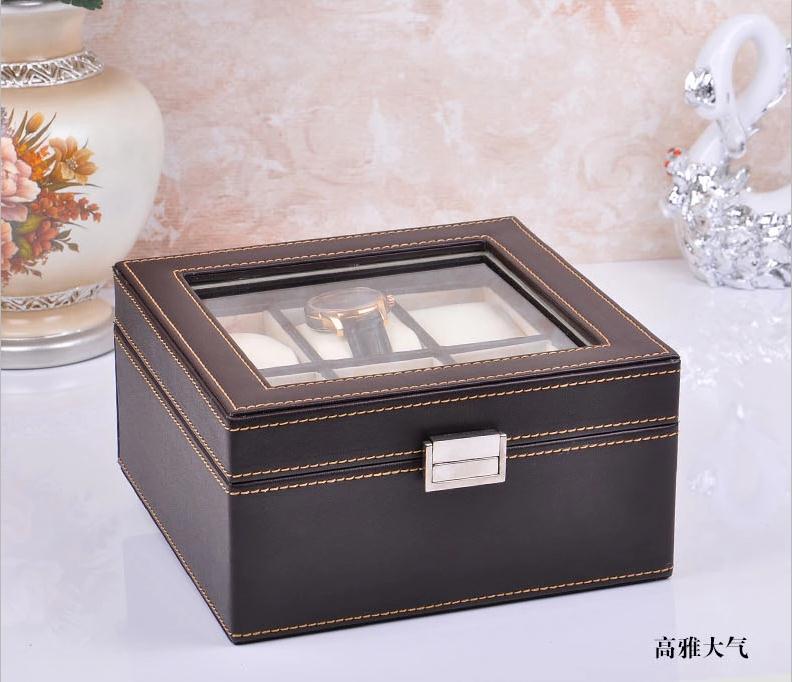 Luxury fashion 6-slot wood structure leather watch jewelry box watch collection box case brown 263B(China (Mainland))