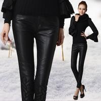 S- 2XL Women Winter Velvet Patchwork Faux Leather PU Pants Black Plus Size Sexy Slim Mid-Waist Trousers kinny Leggings