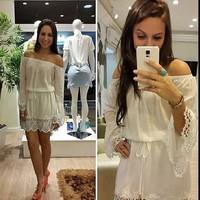 014 The fall of new white shoulder Lace Chiffon collar long sleeved dress bandage mini bodycon dress frozen dress elsa dress