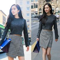 2015 autumn New big brand celebrity style fashion casual pladi skirt slim elegant sets for women high quality two piece set